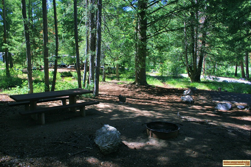 An RV camping site in Wood River Campground.