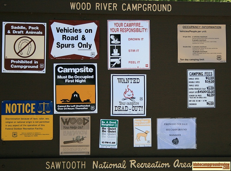 Campground info sign for Wood River Campground.