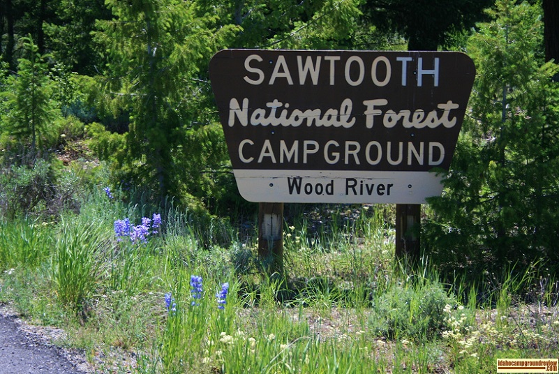 The sign at the entrance to Wood River Campground North of Ketchum, Idaho.