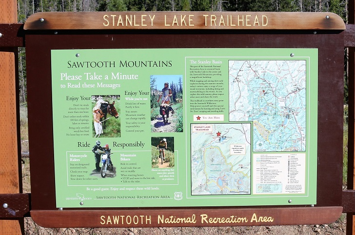 A picture of the sign at Stanley Lake Trailhead.