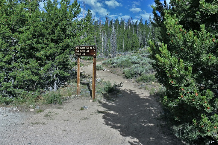 A picture of the trailhead to Hell Roaring Lake.