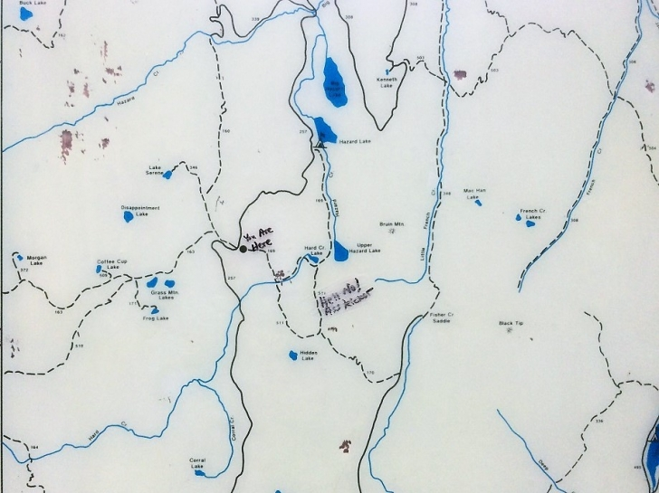 A close up picture of the map surrounding Hard Creek Campground.