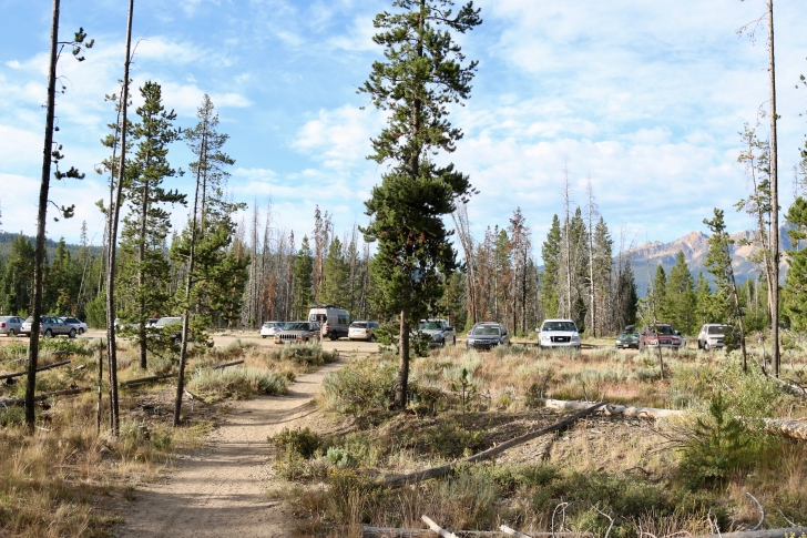 A view of the parking area for Redfish Trailhead in the Sawtooth National Recreation Area