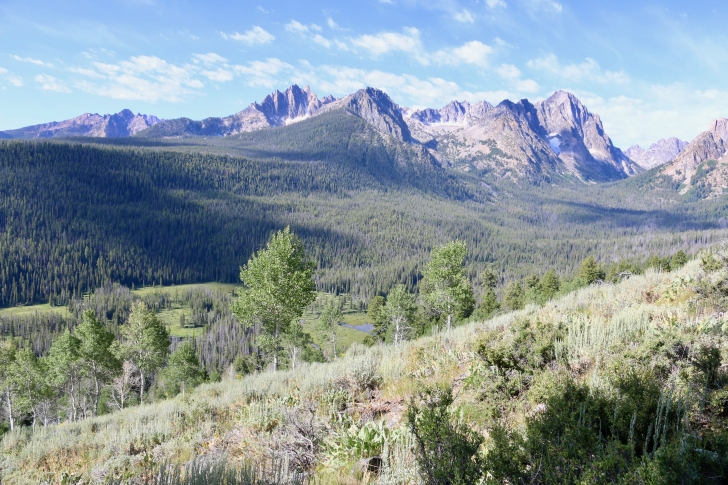 A picture of the Sawtooth Mountains towering over Fishhook Creek.