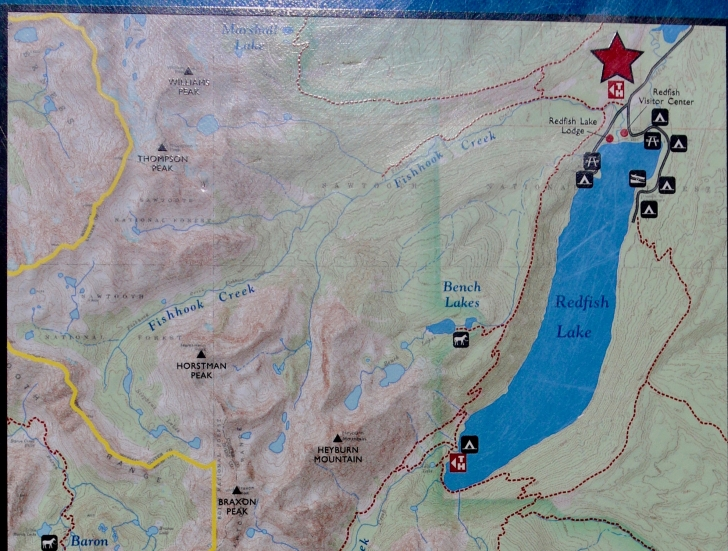 This is a close up picture of the map at Redfish Trailhead.