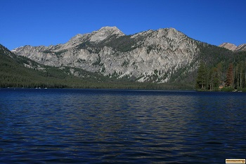 View of mountains above Pettit Lake in the Sawtooth National Recreation Area.