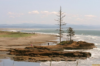 picture of people playing on the shore in Oregon